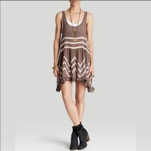 Intimately Free  brown Lace Trapeze Slip Dress Med